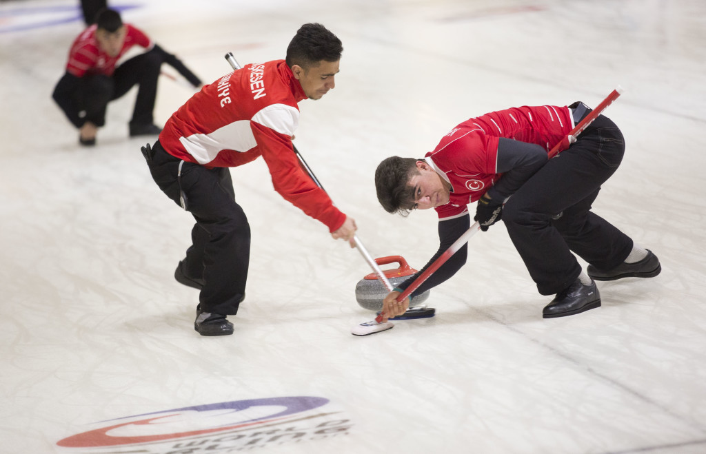 First session of the day for the men at the VoIP Defender World Junior Curling Championships 2016 on Mar. 8, 2016.
