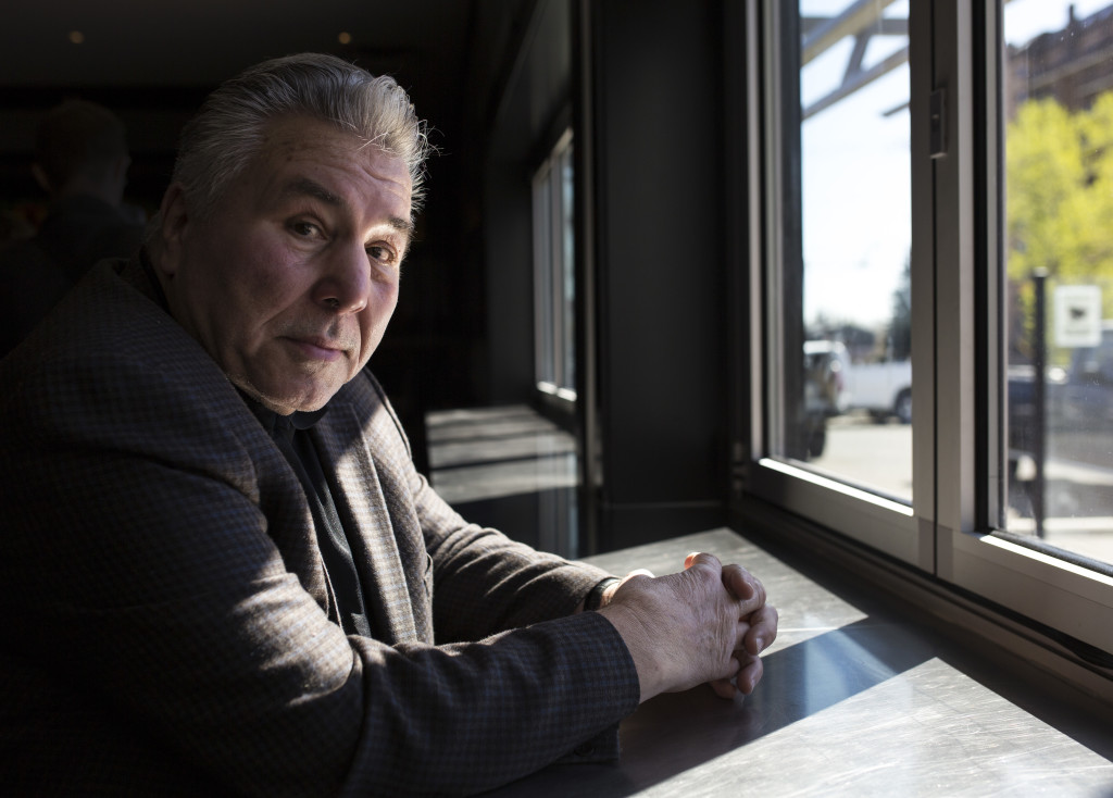 Canadian boxing heavyweight legend George Chuvalo poses for a photo at Peanuts Public House in Calgary, Alta., on Monday, April 18, 2016. Chuvalo was in town to promote a fundraiser for stopbully.com, which takes place on April 19 at the Texas Gate Bar and Grill in Cochrane. Chuvalo celebrated the 50-year anniversary of his first fight against Muhammad Ali at the Maple Leaf Gardens in Toronto on March 29. Marissa Tiel/Postmedia Network