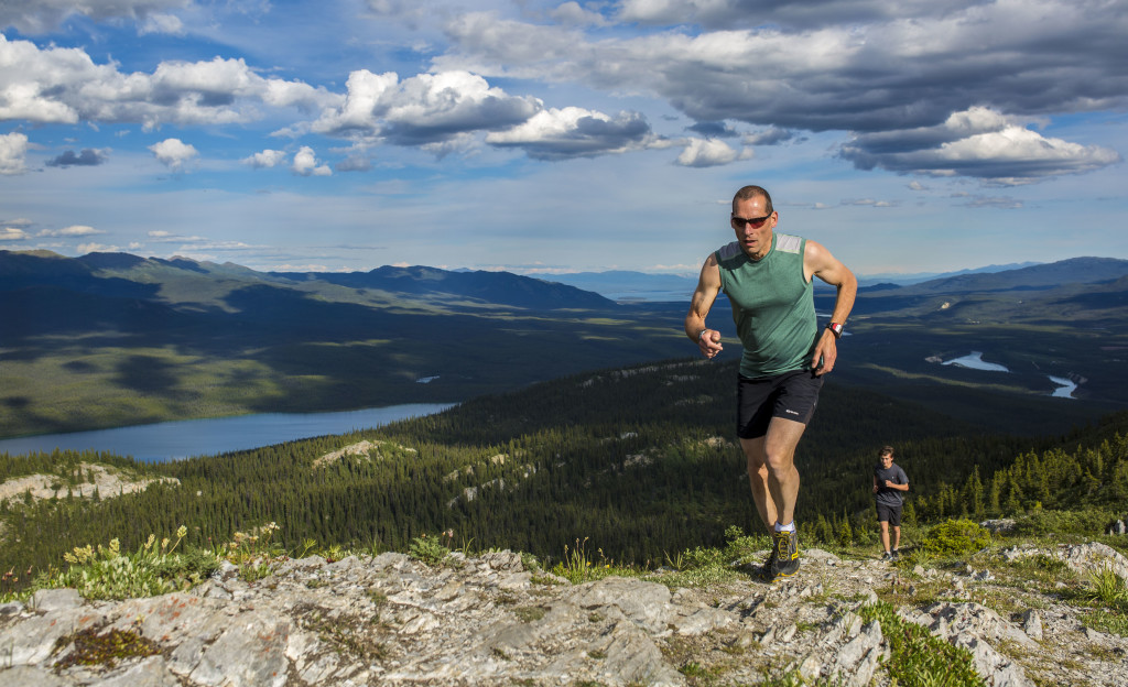 Eldon Pfeiffer leads Thomas Moore on a race at the top of Grey Mountain the night of Thursday, June 24, 2016. Photo by Marissa Tiel