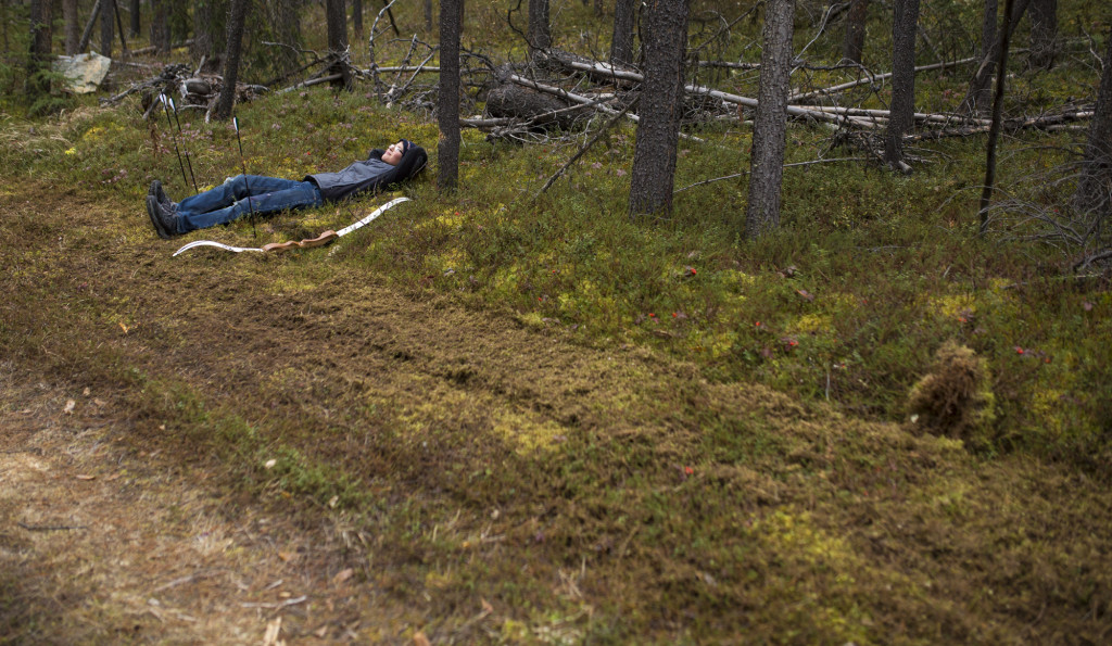 Douglas McKinnon rests between targets during the 2016 Yukon 3D Outdoor Archery Championships.