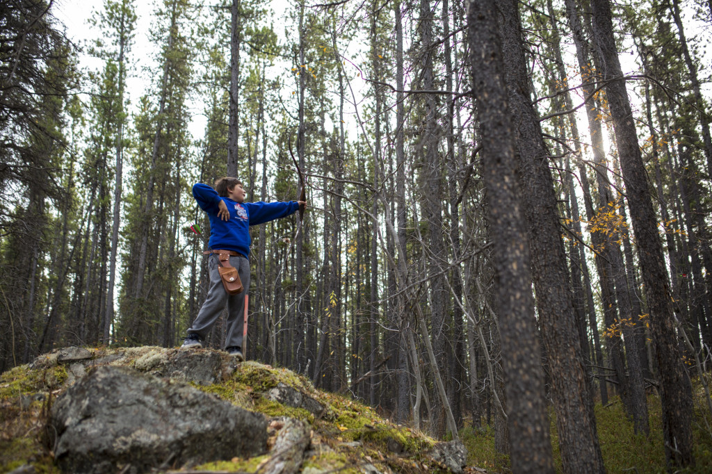 David Stoneman prepares to take aim at a target during the 2016 Yukon 3D Outdoor Archery Championships.