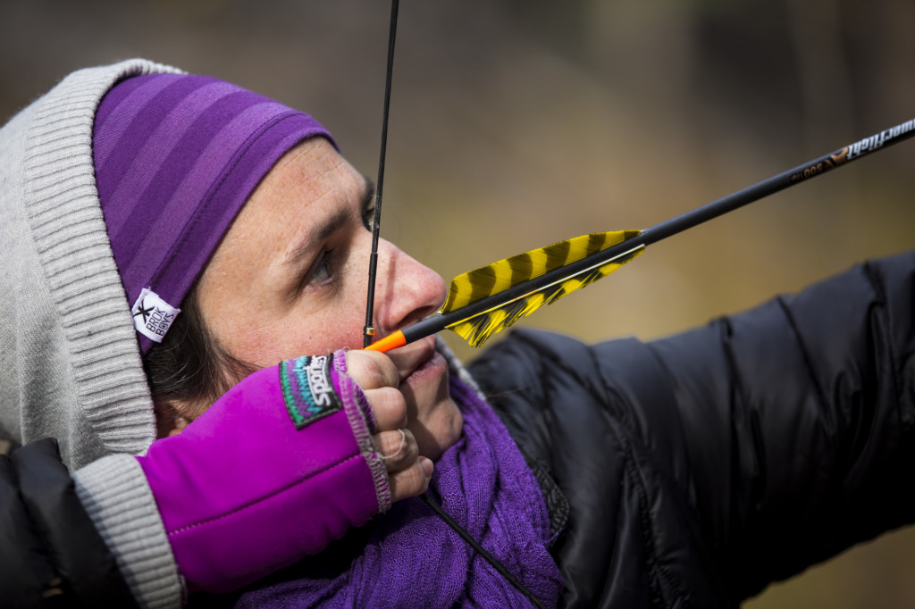 Marie-Maude Allard prepares to take aim at a target during the 2016 Yukon 3D Outdoor Archery Championships.