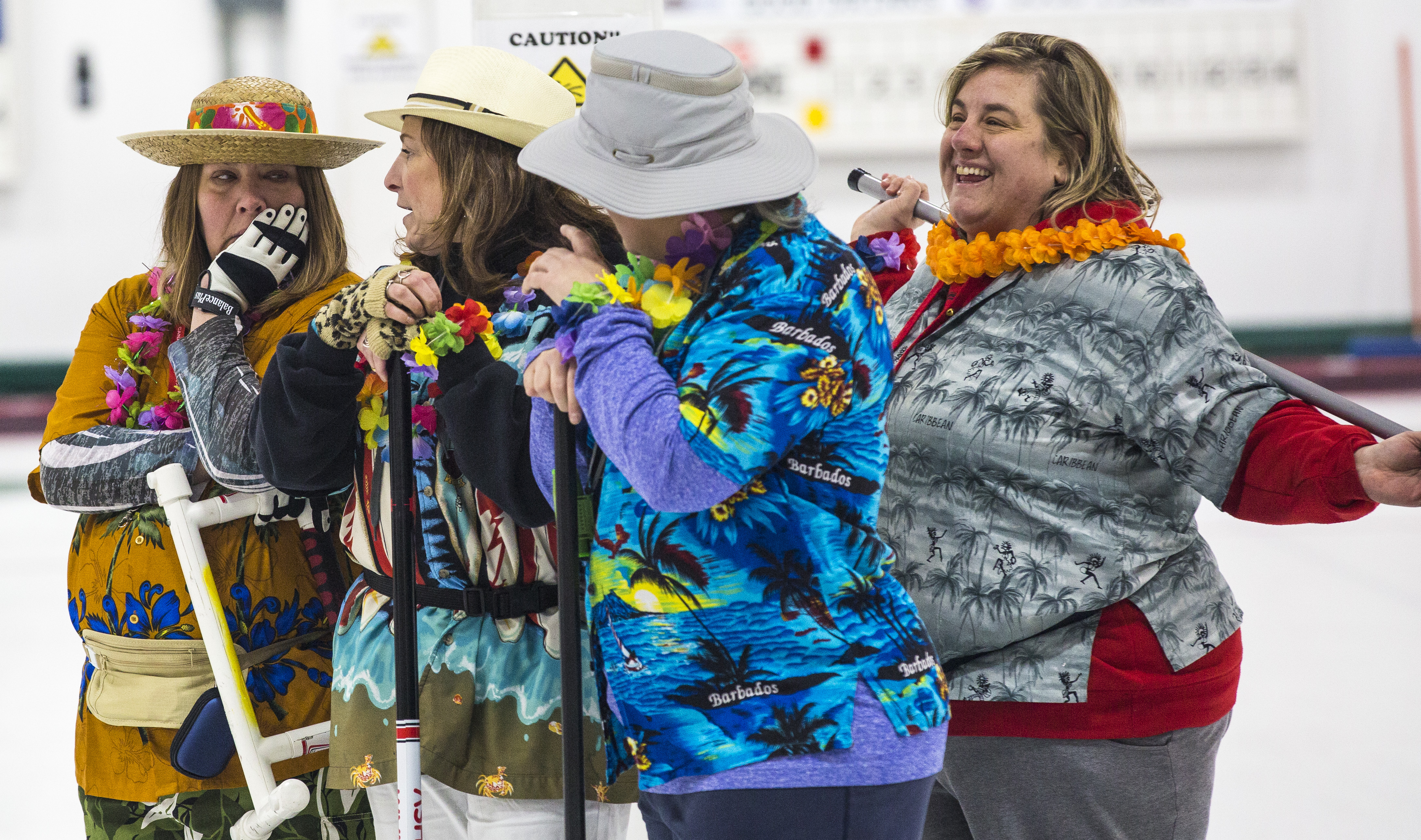 Sheri Lynne Lintick, Leilah Cross, Tammy Sehn and Kym Sheppard take part in the Whitehorse Curling Club's Tack Tourist Women's bonspiel on Sat. Jan. 28, 2017.