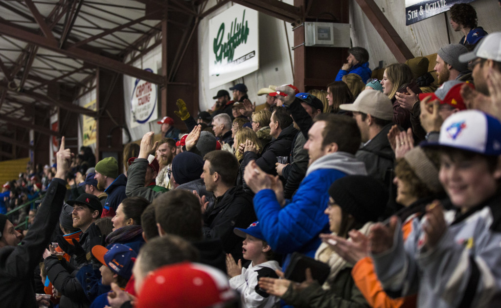 The crowd during Coy Cup finals action at Takhini Arena on April 1, 2017. The Huskies won the Coy Cup 7-5.
