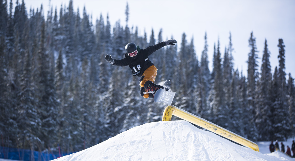 Sammy Mather takes part in the 2017 Yukon Snowboarding Championship slopestyle competition at Mt. Sima on March 21, 2017. Mather was first in the 15-16 male category with a best run score of 297.50. Photo by Marissa Tiel