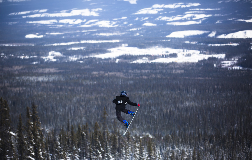 Ben Machtans takes part in the 2017 Yukon Snowboarding Championship slopestyle competition at Mt. Sima on March 21, 2017. He was first in the 13-14 male category, with a high score of 245.00. Photo by Marissa Tiel