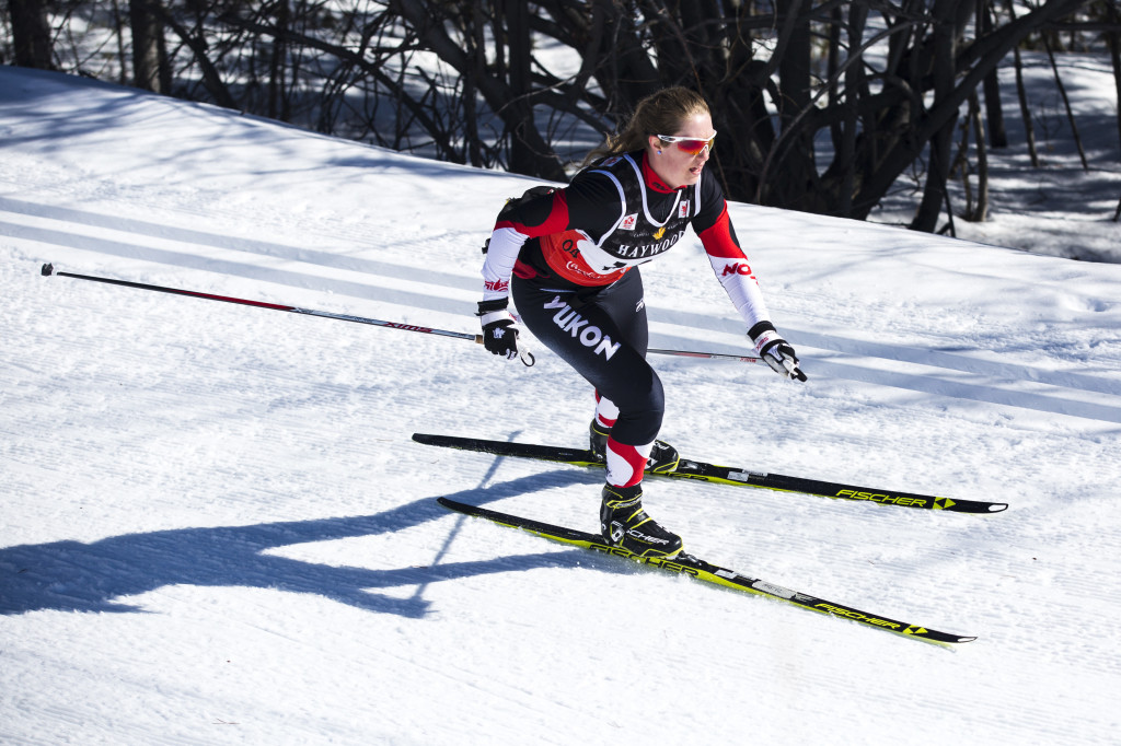 Kendra Murray, skies into the finish of the 50K inaugural Yukon Ski Marathon, a 50K or 20K race that finished at Mount McIntyre. She was the first woman across the line in 2:31:28.7