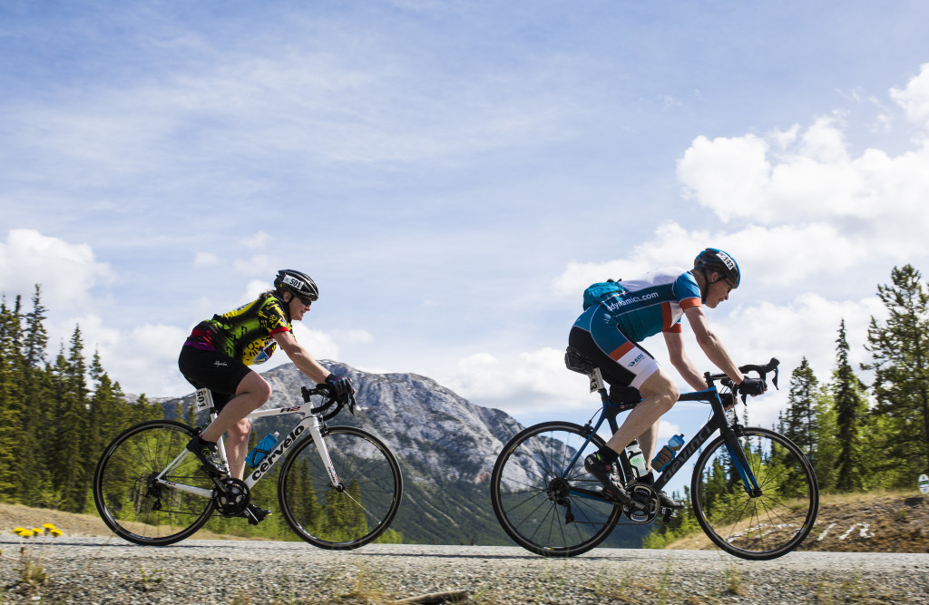 Cyclists take part in the Southern Lakes Gran Fondo on June 3. The race began in Tagish, circling clockwise through Mount Lorne and Marsh Lake before the finish. This year's event featured more than 50 racers and more than half the field competed in the solo division.