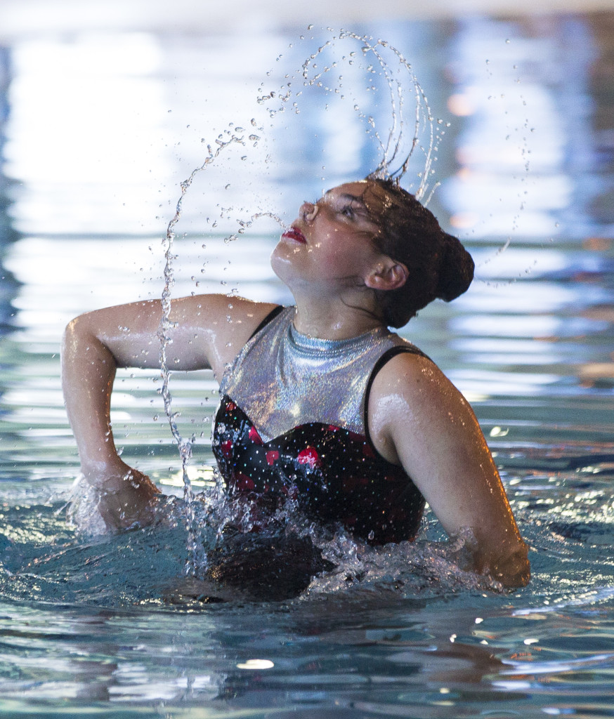 Taylor Jobin performs during the Northern Novas Synchronized Swimming Club year-end showcase on May 6 at the Canada Games Centre.