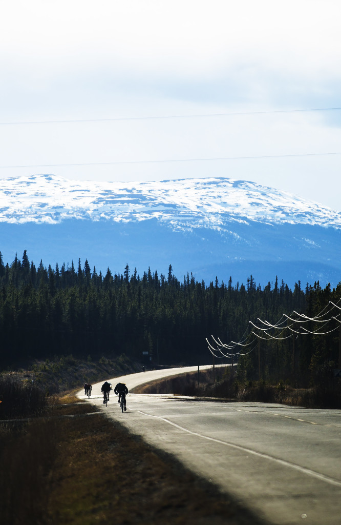 Racers take part in the first U Kon Echelon time trial race on the Alaska Highway near the Carcross Cutoff on Weds., May 10, 2017.