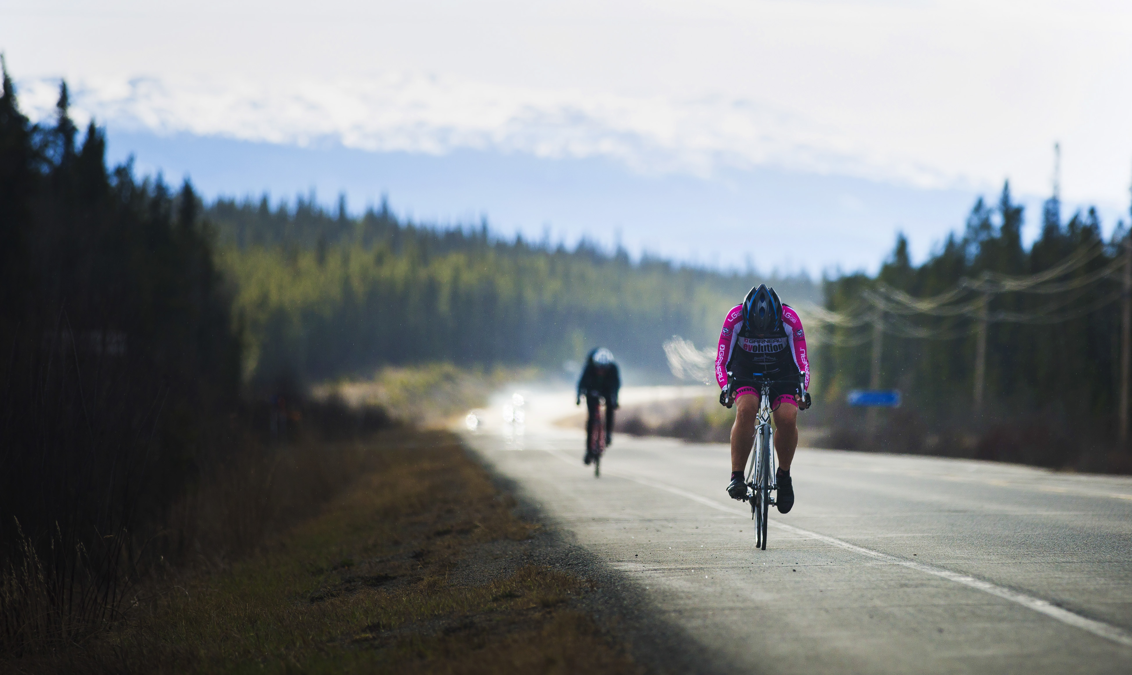 Trena Irving leads a rider during the first U Kon Echelon time trial race on the Alaska Highway near the Carcross Cutoff on Weds., May 10, 2017.