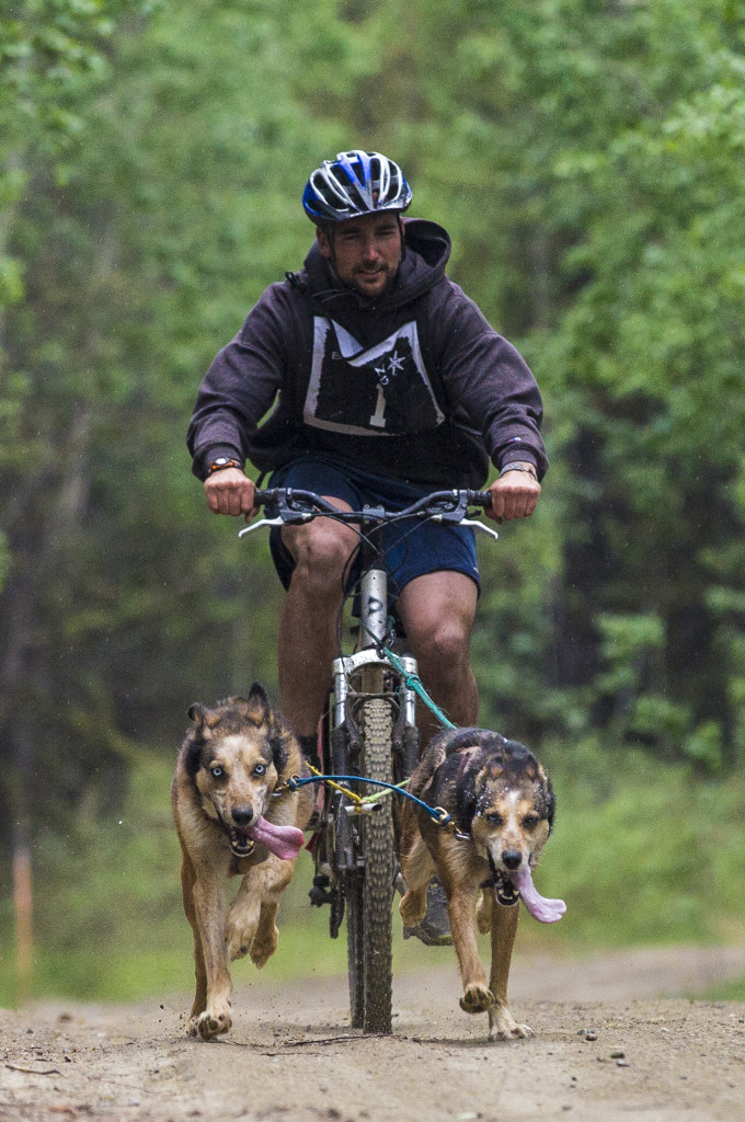 Adam Robinson races in the two-dog two-mile Hot Hound race at Takhini Hot Pools on June 11, 2017.