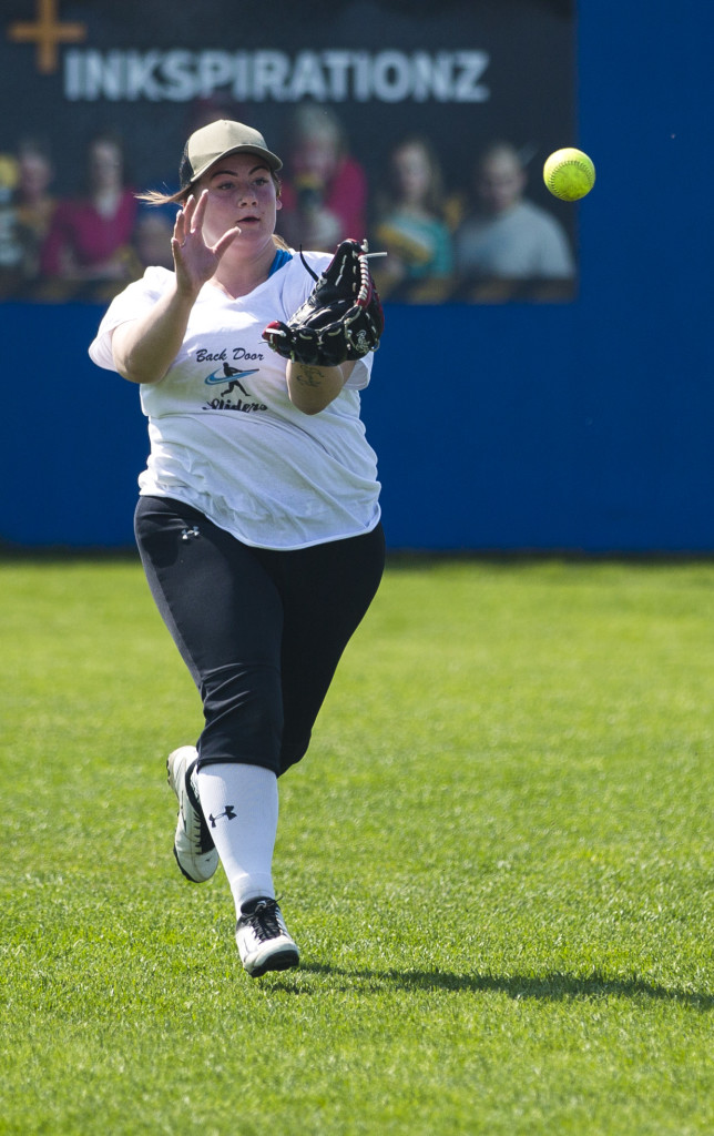 Daria Jordan throw the ball infield during the Co-ed A Dustball Final on Sunday June 18, 2017 in Whitehorse.