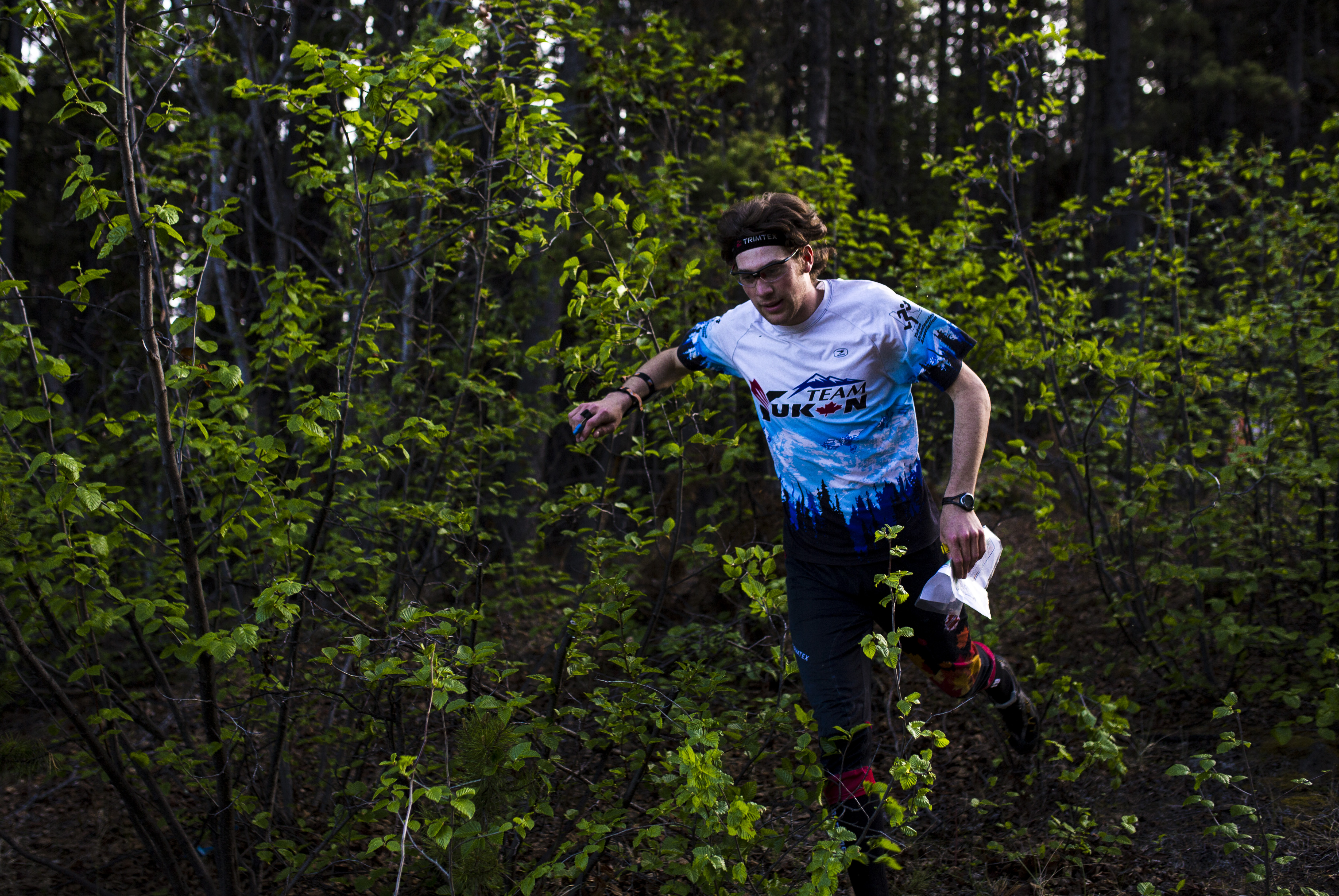 Caelan McLean makes his way down the hill to the final control before the finish during the Yukon Orienteering Middle Distance Championships in the Lo-Bird subdivision on Wednesday, June 7, 2017.